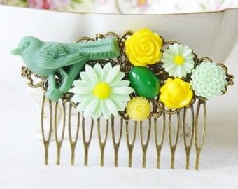 50% Off Bird Hair Clip / Daisy Flower Hair Clip / Yellow and Green Floral Hair Piece / Bird Hair Piece with Bright Yellow, and Green Flowers