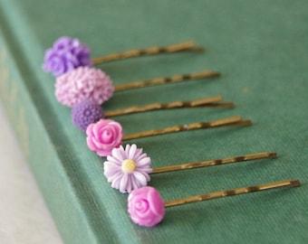 Purple Flower Hair Clips / Purple Flower Bobby PIns / Lilac Hair Pin Set / Flower Bobby Pin  / Purple, Lilac, Mauve Set of 6 Hair Pins
