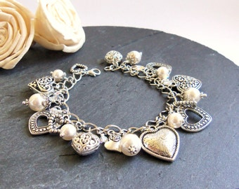White pearl and crystal heart charm bracelet, winter charm bracelet, heart bracelet, Swarovski pearl bracelet, bridal jewelry, wedding