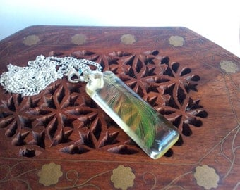 Clear resin pendant with real green parrot feather. Resin jewelry