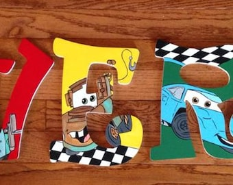 Cars Hand Painted Wooden Letters