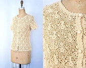VINTAGE 1970s ivory crochet button front blouse | Bohemian floral open weave sweater | Cotton summer cover up