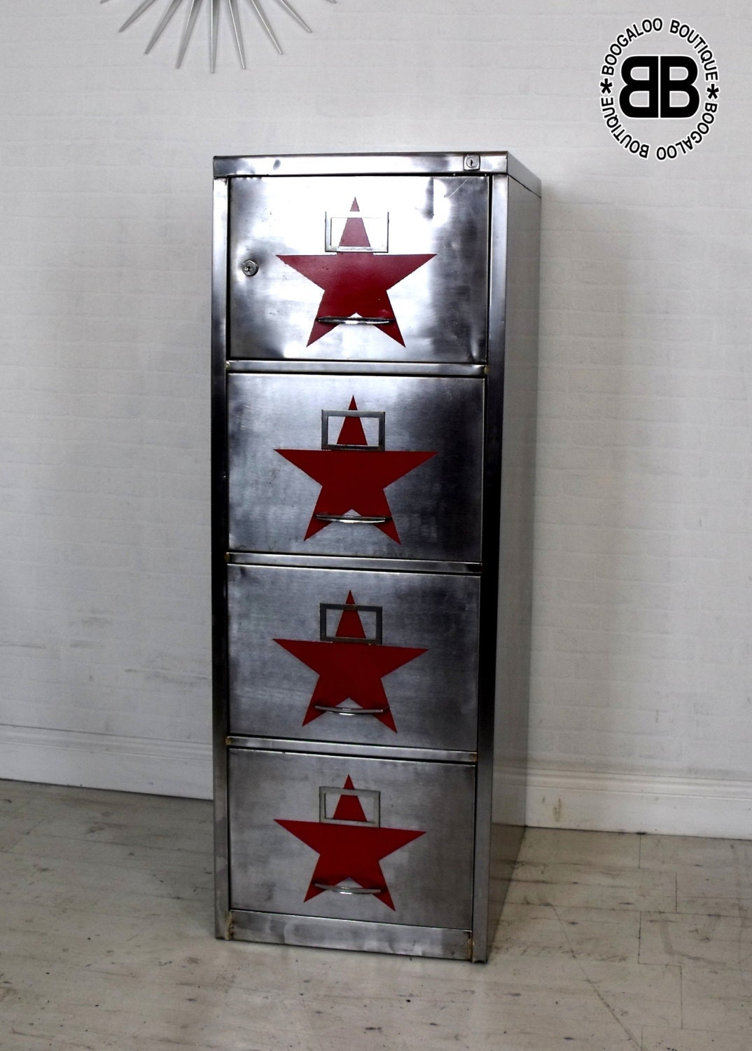 Upcycled retro vintage industrial filing cabinet polished Upcycled metal filing cabinet