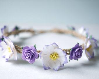 Paper Flower, wedding crown size 18 cm. , lilac, purple Color.
