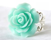 Aqua Green Rose Ring; Silver Filigree Ring; Turquoise Jewelry; Resin Flower Ring; 20mm Rose Cabochon Ring; Turquoise Rose Ring; Rose Jewelry