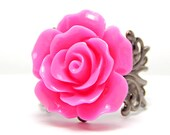 Pink Rose Ring; Gunmetal Filigree Ring; 20mm Rose Cabochon Ring; Neon Pink Ring; Rose Jewelry; Lead and Nickel Free Ring; Resin Flower Ring