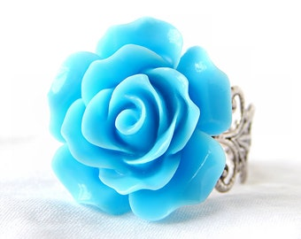 Blue Rose Ring; Resin Flower Ring; Adjustable Ring; 20mm Rose Cabochon; Antique Silver Filigree Ring Band; Bright Blue Ring; Statement Ring