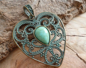 Aged Patina Brass Charm Pendant_ Heart Filigree _S364654321R_1 PCS_ Blue Supply_Heart of : 2.4 x 2 in_60 x 50 mm