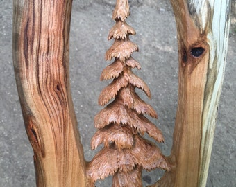 Tree Wood Carving Sculpture in Cherry, Perfect 5th Anniversary Gift, Fine Art Tree Sculpture, Hand Carved in Ohio, Handmade by Josh Carte