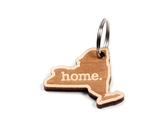 New York Key Charm by Home State Apparel: Laser Engraved Wood Keychain, NY