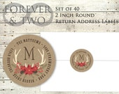 Personalized Address Labels - Christmas stickers - Return Address - Rustic Woodland Wreath - Printed Set of 40