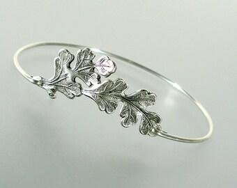 Oak Leaf Bangle Bracelet, Silver Bangle Bracelet, Oak Leaf Bracelet, Silver Bracelet, Silver bangle, Stacking Bangle (146S,)