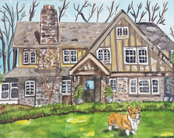 Custom watercolor house painting + pets 5x7. House portrait, pet, house watercolor housewarming gift realtor gift, moving, hostess Christmas