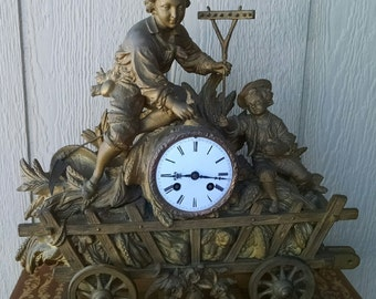 Antique 1800's Victorian Figural Wheat Wagon Spelter Metal Mantle Clock REDUCED