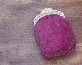 Vintage Pink Velvet Coin Purse with Celluloid Floral Clasp