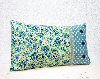 "Handmade 20""x12"" Cotton Cushion Lumbar Pillow Cover in Turquoise Pin Dot & Velvet Lace Trimmed Dark/Light Blue Delicate Flower Design Print"