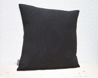 "Handmade 16""x16"" Cotton Cushion Pillow Cover in Black & White Mini Pin Dot Design Print"