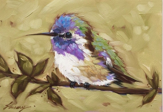 Hummingbird Painting 5x7inch Original Oil Painting Of A