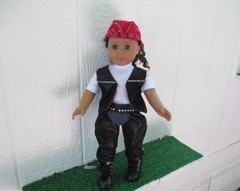 Black Soft Pleather Bikers Chaps-Vest- and DoRag--Biker Boots Shown on my American Girl