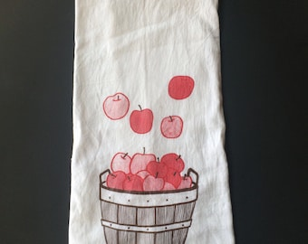Apple Tea Towel, Screen Printed Flour Sack Towel
