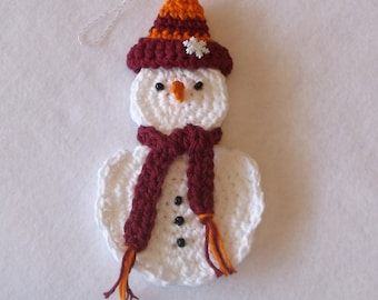 Crochet Hokie Snowman Ornament and Gift Card Holder