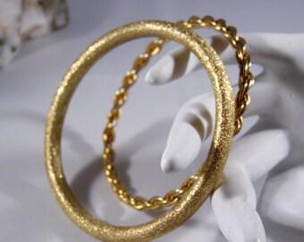 Two Vintage Gold Bangles Bracelets