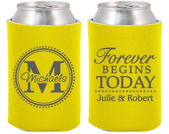 Forever Begins Today, Wedding Can Coolers, Custom Coolies, Personalized Beer Can Coolers, Wedding Favors (35)