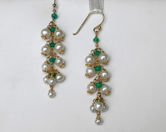 Lily of the Valley Earrings Freshwater pearls earrings Bridal