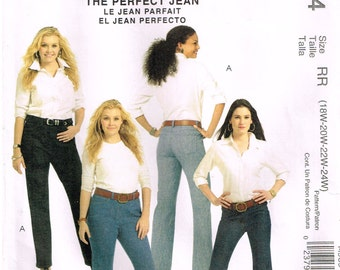 """McCall's M5894, Sewing Pattern, Women""""s Classic Fit, The Perfect Jeans by Palmer/Pletsch, Size 18W, 20W, 22W, 24W"""