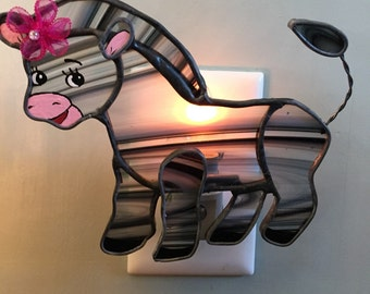 Stained Glass Zebra Night Light or Sun Catcher