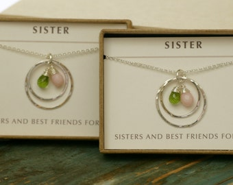 Sister jewelry birthstone necklace for sister wedding gift, maid of honor gift, best friend necklace for sisters - Celeste