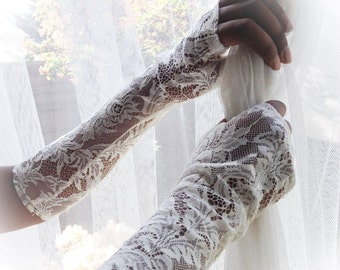 Wedding gloves, French lace opera gloves, long lace gloves, ivory fingerless gloves, long gloves, wedding gloves, long fingerless gloves