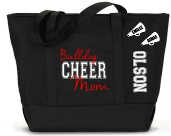 XL Personalized CHEER MOM Tote Bag