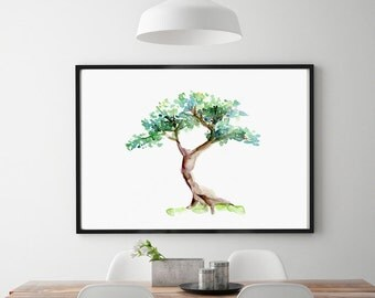 Bonsai Art - Tree Watercolor painting - Poster Print - Japanese tree watercolor - bonsai illustration - tree poster aquarelle bonsai tree