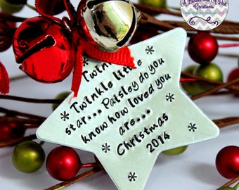 Personalized Hand Stamped Star Christmas Tree Ornament with jingle bells