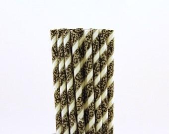 Black and Grey Striped Damask Paper Straws-Black Damask Straws-French Birthday Straws-Striped Straws-Parisian Bridal Shower Paper Straws
