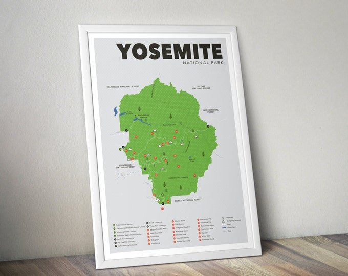 Yosemite National Park Map, Yosemite, Outdoors print, Explorer Wall Print