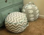 TWO Original Pouf Floor Cushions - Grey Chevron and Grey Ele + Mediterrnean Piping