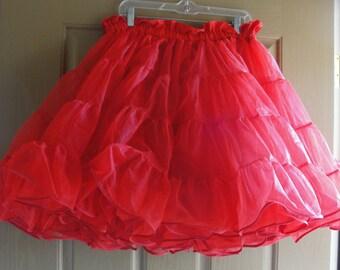 Vintage 80s red full petticoat  medium large square dance