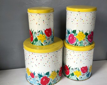 Vintage Metal Kitchen Cannisters Set of Four, Red and Yellow Poppies and Wildfllowers, Painted Metal Cans with Matching Lids,