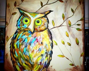 Beautiful Custom Handpainted Large Owl on Large Canvas ***beautiful ****