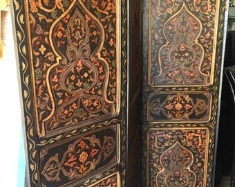 Moroccan 4 Panel Carved Wood Screen-Room Divider - CLB