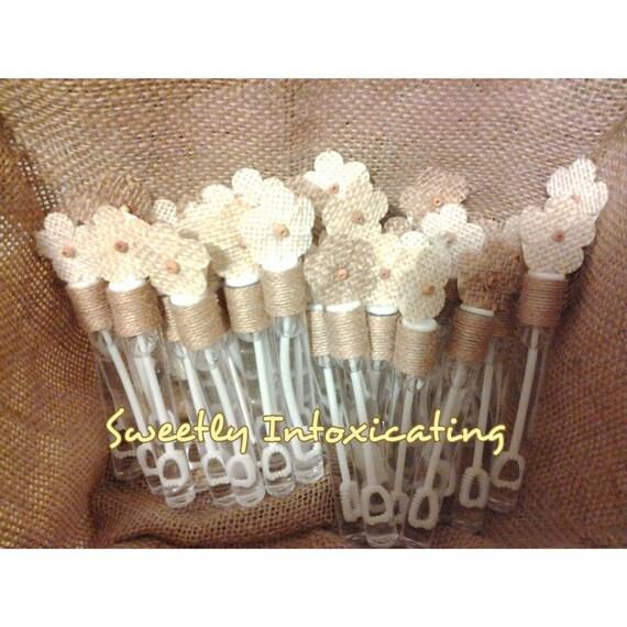 25CT Burlap Flower Wedding Bubbles Burlap Wedding Rustic