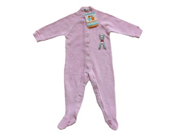 FRENCH vintage 70's / for babys / pajamas / overalls / pink terrycloth / fawn pattern / new old stock / size 6 months