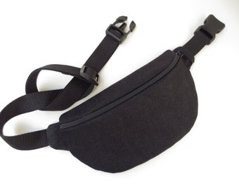 Lightweight Super Plain Black Denim Fanny Pack