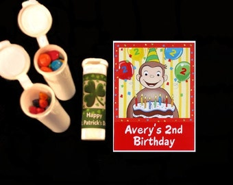 Curious George party favors candy/crayon tubes set of 10 with personalized stickers