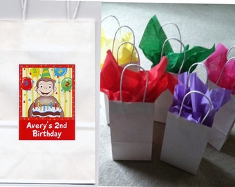 Curious George party favor goody bags personalized set of 10