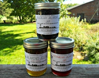 Jalapeno Flavored Jellies - Lot of 3 - Jalapeno Jam - Choice of Ten Flavors - Homemade Pepper Jam - Hostess Gift - Gift For Dad - Food Gift