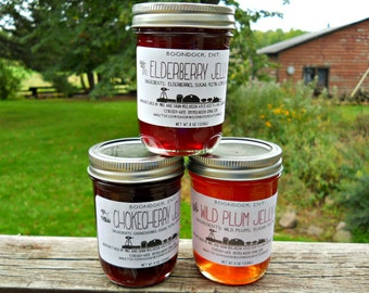 Wild Berry Jelly - Choose from 9 flavors - Wild Chokecherry Jelly - Gooseberry Jelly - Elderberry Jelly - Hostess Gift -Boondock Enterprises