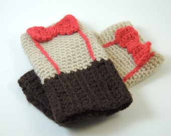 Eleventh Doctor Inspired Fingerless Gloves / Armwarmers - Two Bow & Suspenders Colors - Made-to-Order